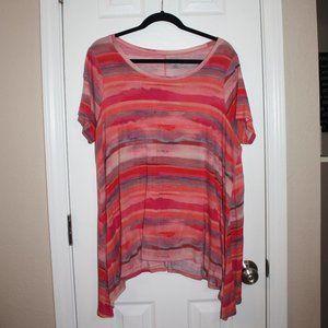 a.n.a. 0X Pink Striped Shirt